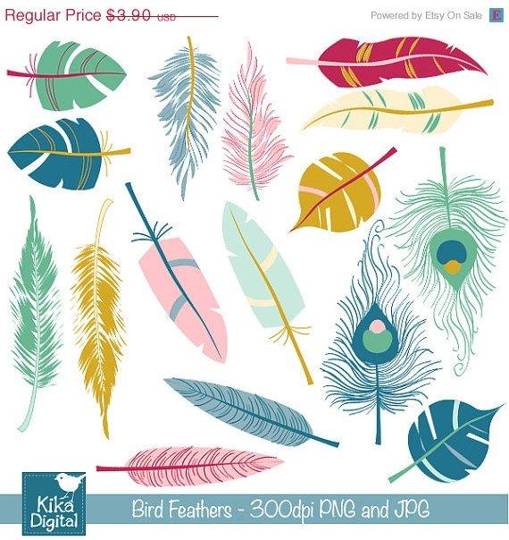 Bird Feathers Digital Clipart - Scrapbooking , card design, photo booth