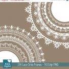 Lace Circle Frames - Digital Clipart / Scrapbooking - card design, invitations