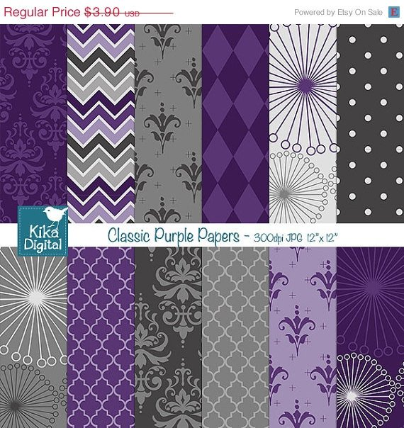 Classic Purple Digital Papers, Purple Papers - scrapbook, card design, stickers