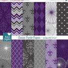 Classic Purple Digital Papers, Purple Papers - scrapbook, card design, stickers