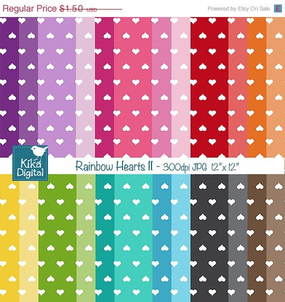 Colorful Hearts II Digital Papers - Colorful Scrapbook Papers - card design