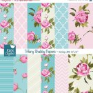 Tiffany Shabby Chic Digital Papers, Shabby Chic Scrapbook Papers - card design