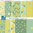 Spring Floral Digital Papers - Grn Floral Paper Pack - Scrapbooking, card design