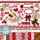 Cherry Digital Clipart , Paper Combo- Scrapbooking , card design, stickersA