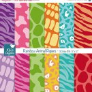 Animal Print Digital PapersBright Colors Animal Print Scrapbooking PapersRainbow Animal Pattern