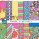 Bright Flowers Digital Papers - Digital Scrapbook - card design, background