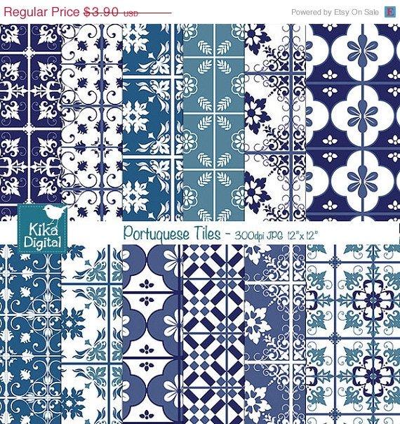 Portuguese Tiles Digital Papers, Blue Tile Digital Scrapbook Papers card design