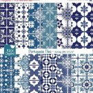 Portuguese Tiles Digital Papers, Blue Tile Digital Scrapbook Papers card design