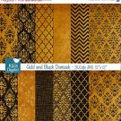 Gold , Black Damask Digital Papers - Scrapbooking Papers - card design