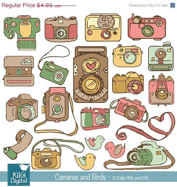 Cameras ,  Birds Clip Art, H,  Drawn Cameras Clipart, vintage print