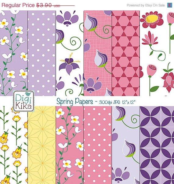 Spring Flowers Digital Papers - Floral Digital Scrapbook Papers - card making