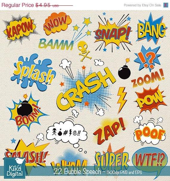 Speech Bubble clipart,super hero pop art text clip art,scrapbook,invitation,greeting cards