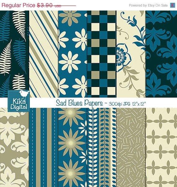 Navy Blue , Beige Digital Papers-Sad Blues Digital Scrapbook Papers-Blue