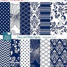 Navy Digital Papers, Navy , White Scrapbook Papers - card design, background