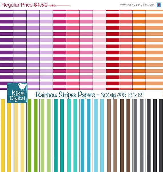 Colorful Stripes Digital Papers- Colorful Digital Scrapbook Papers- card design