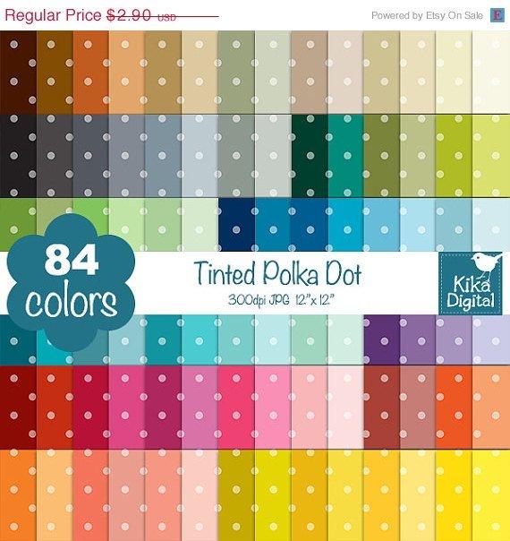 Tinted Polka Dot Digital Papers - Rainbow Scrapbook Papers - Huge Paper Pack