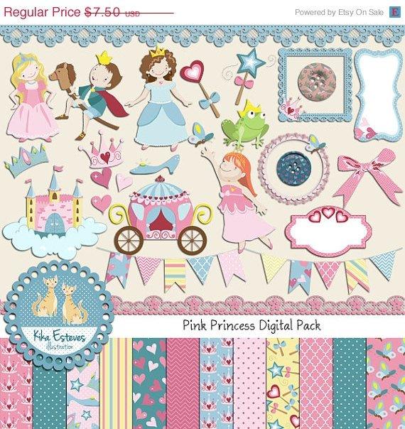 Pink Princess Digital Clipart , Paper Combo- Scrapbooking , card design