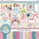Pink Princess Digital Clipart , Paper Combo- Scrapbooking , card design