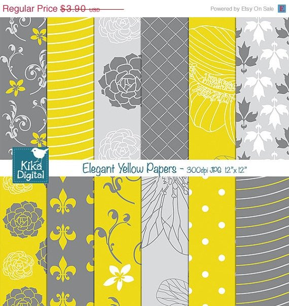 Yellow Grey Papers - Yellow Scrapbooking Papers - card design, invitations
