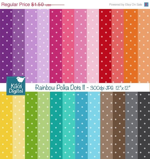 Colorful Polka Dots II Digital Papers - Colorful Scrapbook Papers - card design