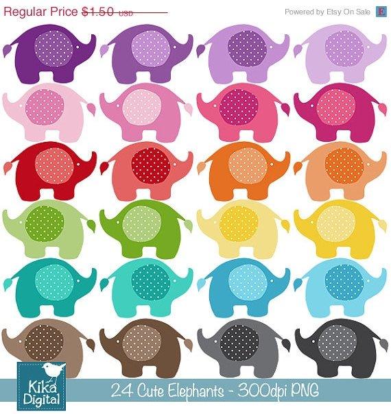 Cute Baby Elephants Digital Clipart - Scrapbooking , card design, stickers