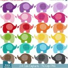 Cute Baby Elephants Digital Clipart - Scrapbooking , card design, stickers