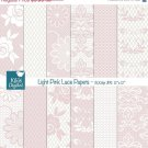 Light Pink Lace Digital Papers - Digital Scrapbook Papers - card design