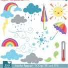 Daily Weather Digital Clipart - Scrapbooking , card design, photo booth