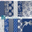 Blue , Silver Christmas Digital Papers - Scrapbooking Papers - design
