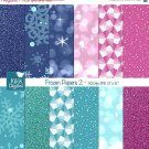 Frozen Digital Papers II, Frozen Papers, Winter Scrapbook Papers - card design
