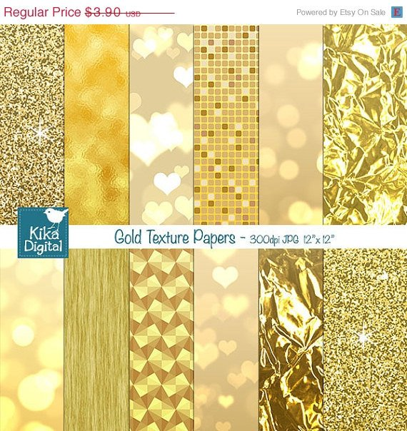 Gold Texture Digital Papers, Gold Foil Digital Papers - card design, background
