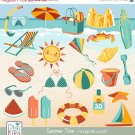 Summer Clip Art - H,  Drawn Summer Clipart, Beach Vector Graphics