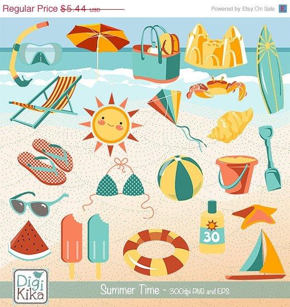 Summer Clip Art - H,  Drawn Summer Clipart, Beach Vector Graphics