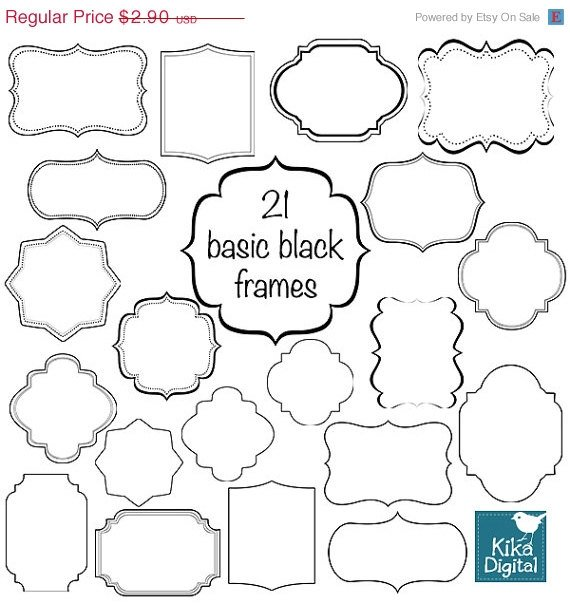 22 Simple Black Frames - Digital Clipart / Scrapbooking card design, invitations