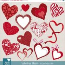 Valentines Hearts Clip Art-Heart Digital Clipart/Red heart Digital Scrapbooking