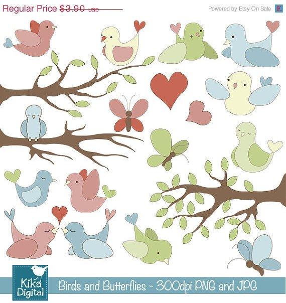 Birds ,  Butterflies Digital Clipart / Scrapbooking, card design, invitation