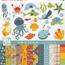 Under the Sea Digital Bundle - Clipart , Paper Pack - scrapbooking , photo album