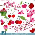 Cherry Blossoms Digital Clipart - Scrapbooking , card design, stickers