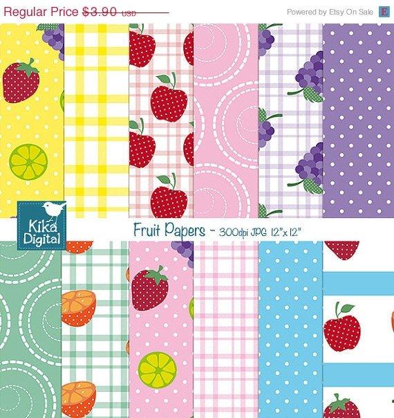 Fruit Papers - Digital Scrapbooking Paper - card design, invitations, stickers
