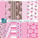 Girl Babyshower Digital Papers - Pink Digital Scrapbooking Papers - card design