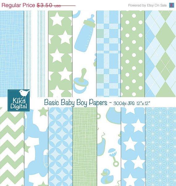 Basic Baby Boy Digital Papers - Digital Scrapbooking Papers - card design