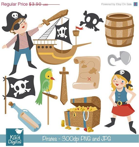 Pirates Clip Art - Pirate Scrapbooking , card design, invitations, stickers