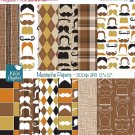 Mustache Digital Papers - Digital Scrapbooking Papers - card design, background