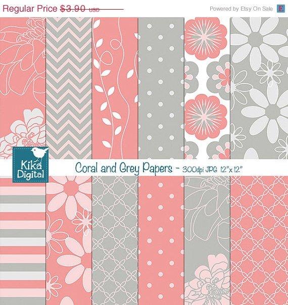 Coral , Grey Digital Papers - Digital Scrapbooking - card design, background
