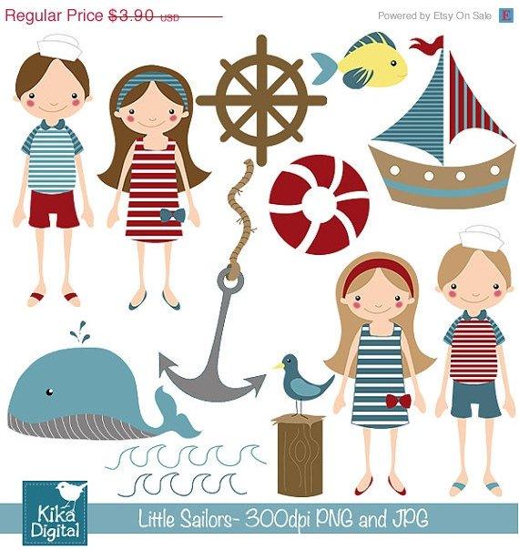 Little Sailor - Digital Clipart / Scrapbooking nautical - card design, stickers