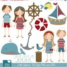 Little Sailor - Digital Clipart / Scrapbooking nautical - card design, stickers