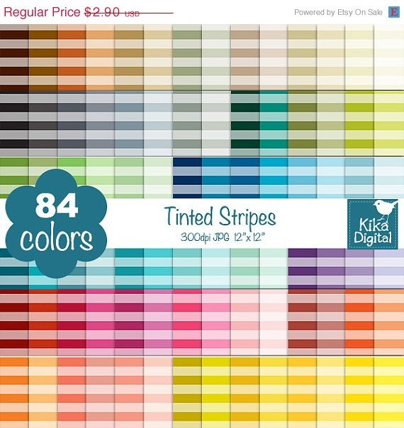 Tinted Stripes Digital Papers-Rainbow Stripes Papers-papers-Huge Paper Pack
