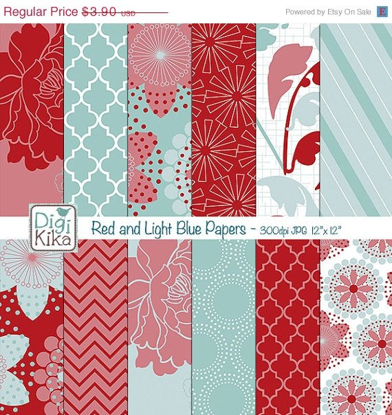 Red , Light Blue Digital Papers - Red , blue Scrapbook Papers - card design