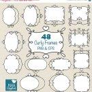 48 Curly Frames, Doodle Digital