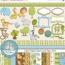 Safari Digital Clipart , Paper COMBO - Scrapbooking , card design, stickers